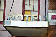 Heartbreak Hotel Framed Prints - Old Hotel Sign Framed Print by Ray Laskowitz