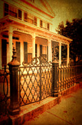 Front Porch Prints - Old House Behind Iron Gate Print by Jill Battaglia
