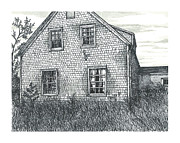 Abandoned House Drawings Prints - Old House Blues Mills Print by Jonathan Baldock