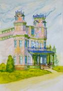 Haunted House Paintings - Old House Haunted with ghost  by Kenneth Michur