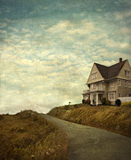 Haunted House Posters - Old House on Rural Road Poster by Jill Battaglia