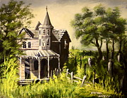 Khatuna Buzzell Metal Prints - Old House With  Cemetery Metal Print by Khatuna Buzzell