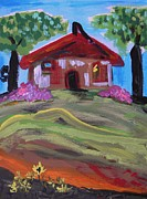 Red Roof Drawings - Old House with Two Trees by Mary Carol Williams