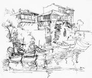 Seacoast  Drawings Metal Prints - Old Houses And Boats Metal Print by Iliyan Bozhanov