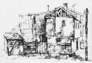 Old Houses Drawings - Old Houses by Iliyan Bozhanov
