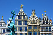 Town Square Prints - Old Houses In Antwerp Print by Visions Of Our Land