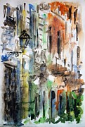 Old Houses Painting Prints - Old houses of San Juan Print by Zaira Dzhaubaeva