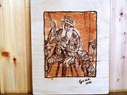 With Pyrography Originals - Old hunter with hunter dog by Egri George-Christian