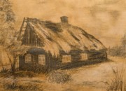 Tree Lines Drawings Prints - Old Hut Print by Dagmara Czarnota