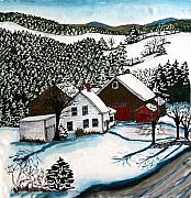 Winter-landscape Tapestries - Textiles Prints - Old Hutchinson Place Print by Linda Marcille