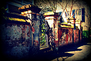 Architectural Garden Scene Posters - Old Iron Gate in Charleston SC Poster by Susanne Van Hulst