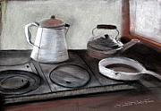 Kitchen Pastels - Old Iron Stove by Lauretta Cole Larsen