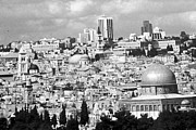 Holy Land Digital Art Framed Prints - Old Jerusalem Black n White Framed Print by Munir Alawi