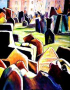 Prague Painting Framed Prints - Old Jewish Cemetary in Prague Framed Print by Miki  Sion