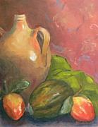 Persimmon Paintings - Old Jug And Persimmons by Brenda Williams