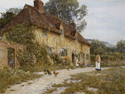 Domestic Animal Posters - Old Kentish Cottage Poster by Helen Allingham