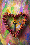 Painted Walls Prints - Old key and rose heart Print by Garry Gay