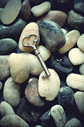 Pebbles Prints - Old Key Lost Among Stones Print by Ethiriel  Photography