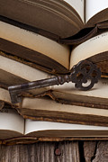 Old Key On Books Print by Garry Gay