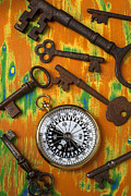 Compasses Prints - Old keys and compass Print by Garry Gay