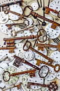 Old Iron Framed Prints - Old keys and watch dails Framed Print by Garry Gay