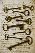 Calligraphy Photo Prints - Old keys on letter Print by Garry Gay