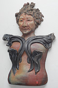 Wall Art Ceramics Originals - Old Kwan Yin With Clouds by Anita Feng