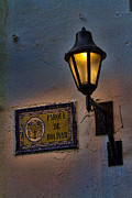 Colombian Framed Prints - Old lamp on a colonial building in old Cartagena Colombia Framed Print by David Smith