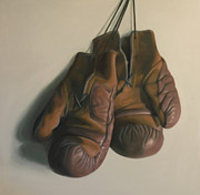 Boxing Gloves Painting Prints - Old Leather Boxing Gloves Print by Keren Luchtenstein