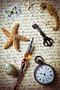 Pocket Watch Framed Prints - Old letter with pen and starfish Framed Print by Garry Gay