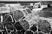 Lobster Pots Framed Prints - old lobster pots piled up at John OGroats harbour scotland uk Framed Print by Joe Fox