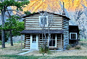 Pioneer Park Prints - Old Log Cabin in Yellowstone Print by Karon Melillo DeVega