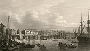 Rough Housing Framed Prints - Old London Bridge, 1745 Framed Print by Miriam And Ira D. Wallach Division Of Art, Prints And Photographsnew York Public Library