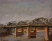 Mississippi River Painting Originals - Old Lowry Bridge by Katherine Seger