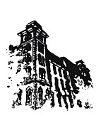 Architecture Drawings - Old Main Building in Fayetteville AR by Amanda  Sanford