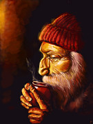 Old Man Digital Art Prints - Old Man and tea Print by Patricia C Bernhard