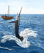 Old Man Fishing Prints - Old man and the Sailfish Print by Ralph Martens