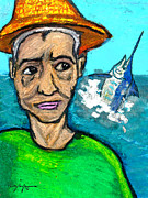 Blue Marlin Pastels - Old Man and the Sea by William Depaula