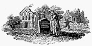 Bewick Prints - Old Man At Tombstone Print by Granger