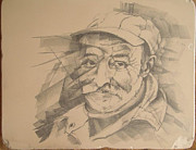 Drawing Pyrography Prints - Old Man Print by Curt Sandu Viorel