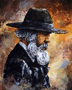 Brown Mixed Media Acrylic Prints - Old Man Acrylic Print by Emerico Toth