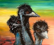 Emu Paintings - Old Man Emu  by Una  Miller