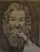 Merlin Drawings Posters - Old Man Poster by Gwen Albee