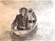 Oars Drawings Prints - Old Man in a Boat Hoi An Vietnam Print by Janet Grappin