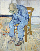 Elderly Hands Posters - Old Man in Sorrow Poster by Vincent van Gogh