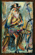 Oil Pastel Framed Prints - Old Man in the Chair Framed Print by David Finley