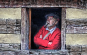 Cabin Window Framed Prints - Old Man in Window Framed Print by Randy Steele