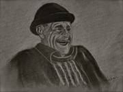 Charcoal Drawings - Old Man Laughing by Michael Brennan