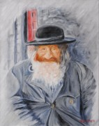 Rabbi Paintings - Old Man of Jerusalem by Quwatha Valentine