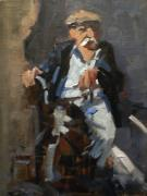 Figurative Paintings - Old Man on a Child by David Simons